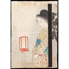 Takeuchi Keishu: Bijin Holding Lantern - Ohmi Gallery