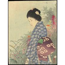 武内桂舟: Bijin In Flower Garden (1) - Ohmi Gallery
