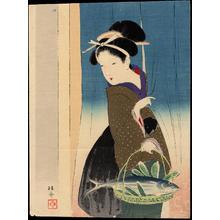 武内桂舟: Bijin with Fish Basket (1) - Ohmi Gallery