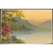 Kenyu T: Boat on Lake in Autumn (1) - Ohmi Gallery