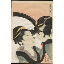 喜多川歌麿: Bijin at the Mirror - ?人対鏡 - Ohmi Gallery