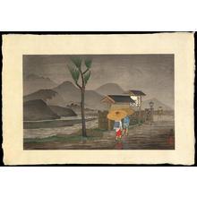 小林清親: Rain on the outskirts of a town - Ohmi Gallery