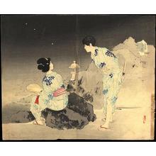 Mishima Shoso: Bijin and Fireflies (1) - Ohmi Gallery