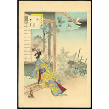 Mizuno Toshikata: April- A Woman of the Enkyo Era - 卯月 延享頃婦人 - Ohmi Gallery