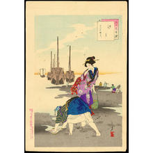 水野年方: Shell Gathering - Women of the Bunka Era - 汐干 - Ohmi Gallery