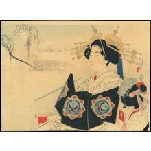 Mizuno Toshikata: Courtesan and Maid (1) - Ohmi Gallery