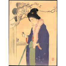 Mizuno Toshikata: Woman Visiting a Temple in the New Year (1) - Ohmi Gallery