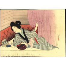 Mizuno Toshikata: Woman resting on a futon (1) - Ohmi Gallery