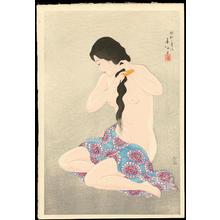 名取春仙: Combing Her Hair - 髪梳る女 - Ohmi Gallery