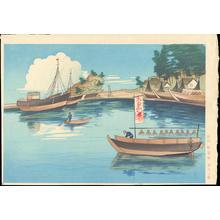 大野麦風: Beach Scenery - 漁港の図 - Ohmi Gallery