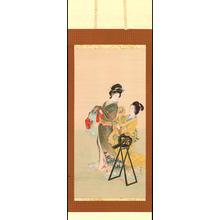Shoen Uemura: Geisha Dressing with Attendant (1) - Ohmi Gallery