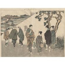 渡辺省亭: Picture of a Visit to Shibamata Taishakuten - 柴又の帝釋天詣の圖解 - Ohmi Gallery