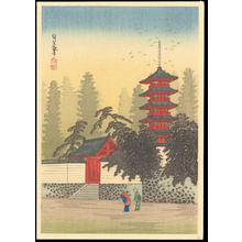 渡辺省亭: Temple of Kinugasa - Ohmi Gallery