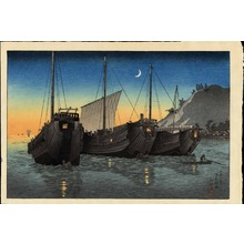 渡辺省亭: Junks in Inatori Bay, Izu - Ohmi Gallery