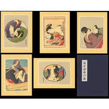 Various artists: Shunga set of 5 famous scenes on fabric - Ohmi Gallery