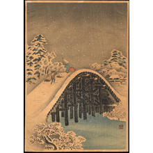 渡辺省亭: Bridge in the Snow - Ohmi Gallery
