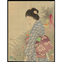 Takeuchi Keishu: Bijin In Flower Garden (1) - Ohmi Gallery