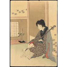 武内桂舟: Bijin Playing a Shamisen (1) - Ohmi Gallery