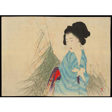 Takeuchi Keishu: Bijin by tall grass (1) - Ohmi Gallery