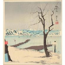 徳力富吉郎: A Snowy Scene of the Lake Suwa at Nagano - Ohmi Gallery
