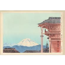 Tokuriki Tomikichiro: No. 2- Fuji viewed from the Moto-Zenkoji Temple in Kofu - 甲府元善光寺の富士 - Ohmi Gallery