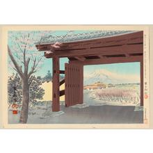 Tokuriki Tomikichiro: No. 9- Fuji in front of the Egawa House - 菲山江戸川邸前の富士 - Ohmi Gallery