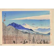Tokuriki Tomikichiro: No. 34- Distant View of Fuji From Shinshu Kiyosato Station - 信州清里駅より冨士遠望 - Ohmi Gallery