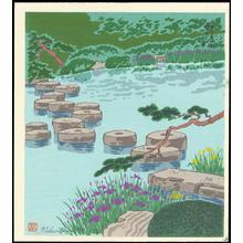 Tokuriki Tomikichiro: Heian Jingu Shrine Iris - 平安神宮燕子花 - Ohmi Gallery