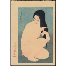 鳥居言人: No. 12 - Combing In The Bath - 裸婦髪梳き - Ohmi Gallery
