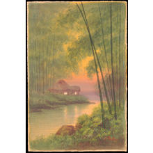 Tosuke S: Hut By River In Bamboo Grove (1) - Ohmi Gallery