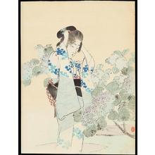 Tsutsui, Toshimine: Bijin and Hydrangea - あじさいと美女 (1) - Ohmi Gallery