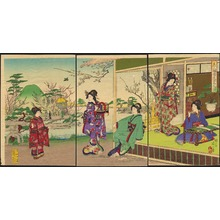 Watanabe Nobukazu: View of Beauties In A Plum Garden - 美人梅園遊覧之図 - Ohmi Gallery