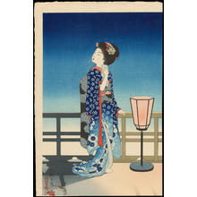 吉川観方: Maiko Admiring the Moon - Ohmi Gallery
