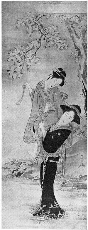 Katsukawa Shunsho: (花下美人図) - Ritsumeikan University