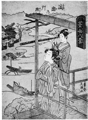 Ippitsusai Buncho: 「墨水八景 綾瀬の夕照) - Ritsumeikan University