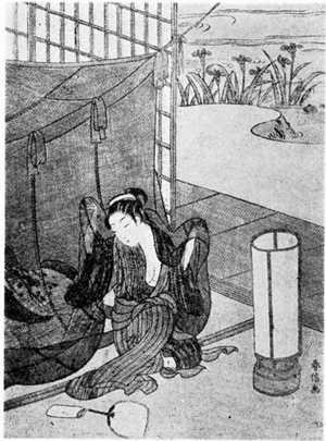 鈴木春信: (蚊帳を出る美人) - 立命館大学