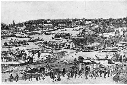 歌川豊春: 「深川新大橋中須の図」 - 立命館大学