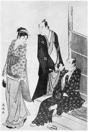 勝川春潮: (茶見世の菊五郎と門之助) - 立命館大学