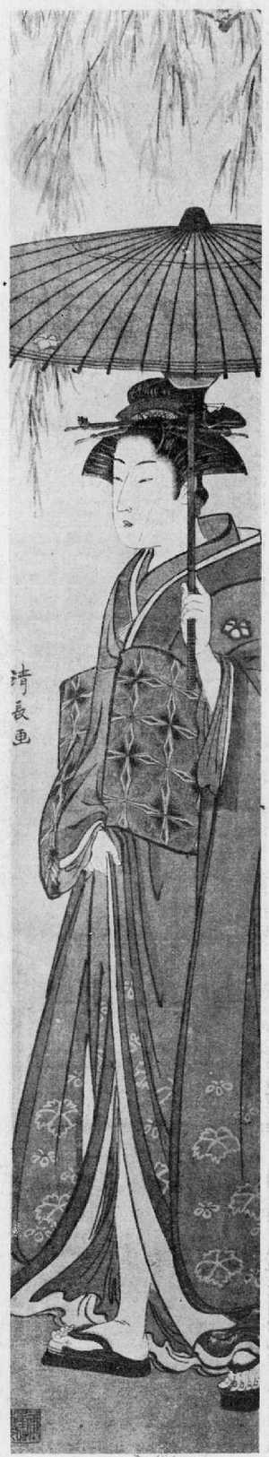 Torii Kiyonaga: (柳に日傘) - Ritsumeikan University