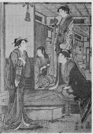 Torii Kiyonaga: (浄瑠璃姫館 右) - Ritsumeikan University