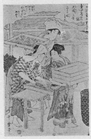 喜多川歌麿: 「女織蚕手業草 四」 - 立命館大学