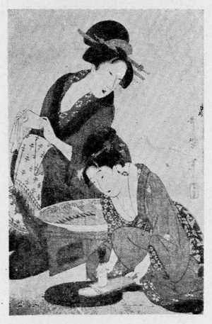 喜多川歌麿: (大根を卸す美人) - 立命館大学