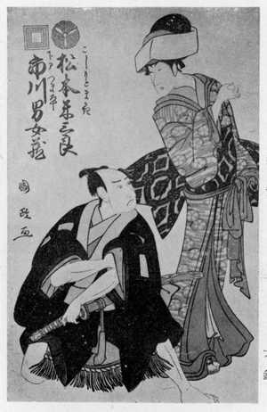 国政: 「こしもとまかき 松本米三郎」「下部つま平 市川男女蔵」 - Ritsumeikan University