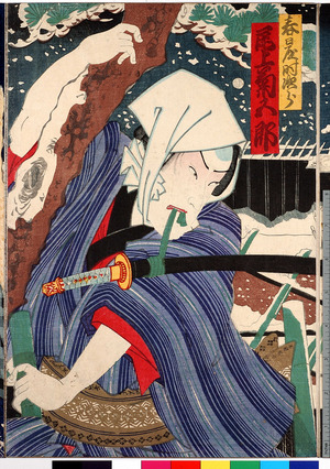 Toyohara Kunichika: 「春日屋時次郎 尾上菊五郎」 - Ritsumeikan University