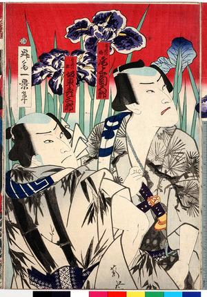 Toyohara Kunichika: 「寺島の梅 尾上菊五郎」「音羽の竜 坂東彦三郎」 - Ritsumeikan University