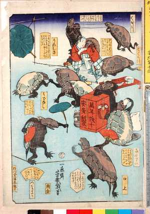 Ochiai Yoshiiku: 「くび引」「まくら引」「両刀つかい」「口上」「うらしま」「うでをし」「つなわたり」 - Ritsumeikan University