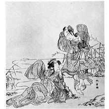 Katsukawa Shunsho: (嵐三五郎と瀬川菊之丞) - Ritsumeikan University