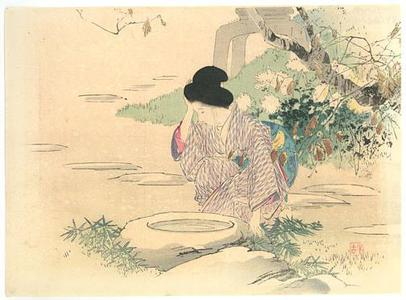 梶田半古: Beauty at the Garden Well - Robyn Buntin of Honolulu