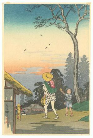 渡辺省亭: Evening at a Village - Robyn Buntin of Honolulu