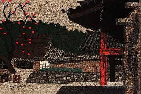 朝井清: Temple and Persimmon Tree - Robyn Buntin of Honolulu